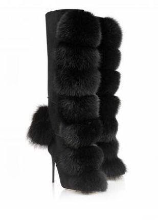 Sestito 2018 Sexy Delle Donne di Inverno di Volpe Capelli Palla Abbellito Stivali Alti Al Ginocchio Delle Ragazze Tacchi Alti Stivali Lunghi Delle Signore del Vestito Della Chiusura Lampo scarpe