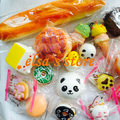 squishies wholesale 10pcs mixed kawaii rare panda puff donut jumbo squishy hand pillow charm strap for cell phone Free Shipping