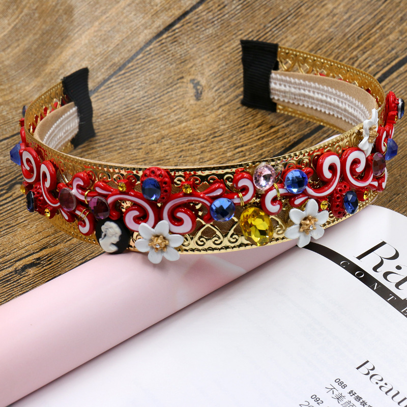 16 new European Baroque exaggerated hoop gem gold hoop crown Flower Hair Accessories Vintage Wedding Accessories