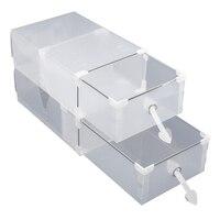 24折りたたみプラスチック靴箱主催引き出しスタッカブル収納ボックスtransparentransparent