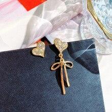 DREJEW Asymmetrical Butterfly Love Heart Statement Earrings 2019 925 Alloy Drop for Women Wedding Fashion Jewelry E8341
