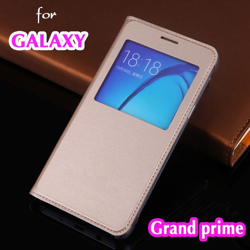 Slim Thin View Shell Shockproof Bag Flip Cover Leather Case Holster For Samsung Galaxy Grand prime
