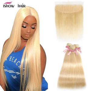 Blonde Bundles With Frontal 613 Straight Hair Bundles With Frontal Ishow Remy Human Hair Bundles With Frontal Preplucked Hair