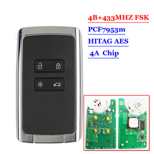 Image 2 - New 4 btns Smart Remote key card 433.92Mhz For Renault Megane4 Talisman Espace 5 Kadjar 2015 with PCF7953M HITAG AES 4A CHIP