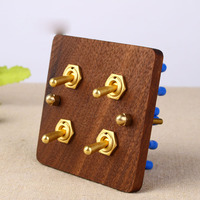 Household solid wood brass pole 4 open double control power switch socket