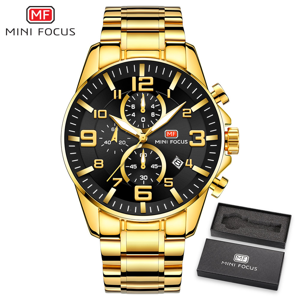MINI FOCUS Golden Mens Watches Top Brand Luxury Quartz Clock Calendar Chronograph Multifunction Fashion Wristwatch Waterproof
