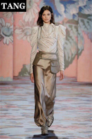 Tang 2019 дизайнерские женские модная блуза сексуальные с длинными рукавами с высоким воротником бант плиссированные рубашки офисные женские