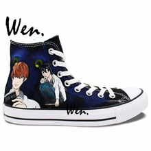 Wen Anime Hand Painted Sneakers Design Custom Death Note Man Woman's High Top Canvas Sneakers Boys Girls Birthday Gifts