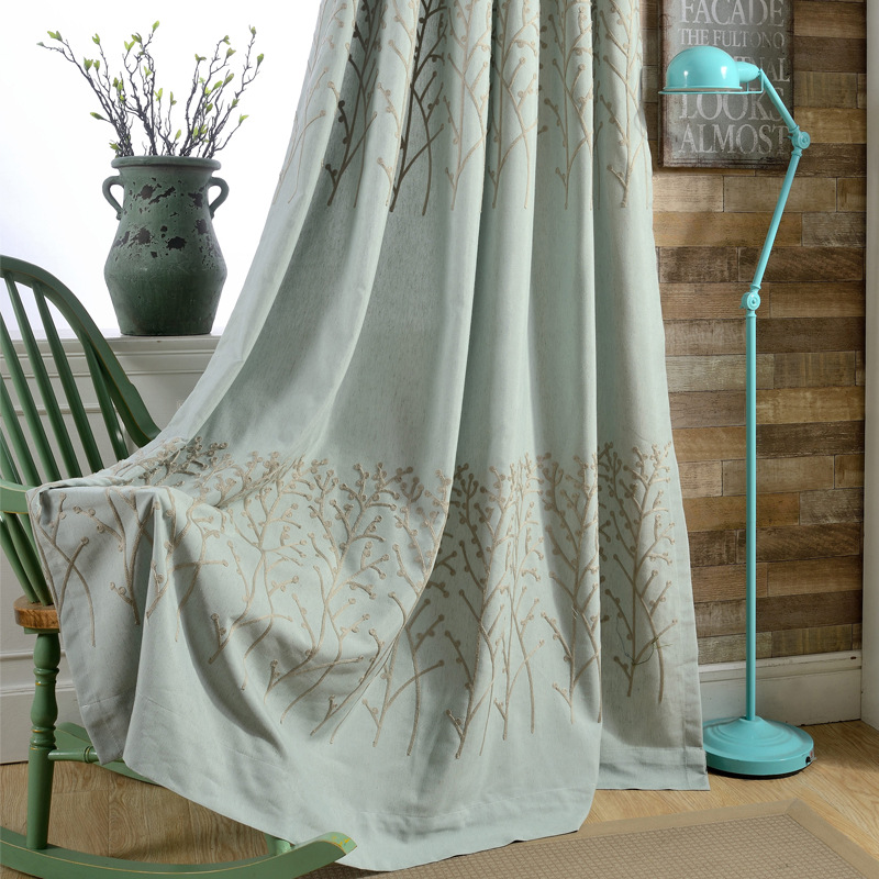 Cotton Embroidery Curtain Fabric Branches Curtains Living