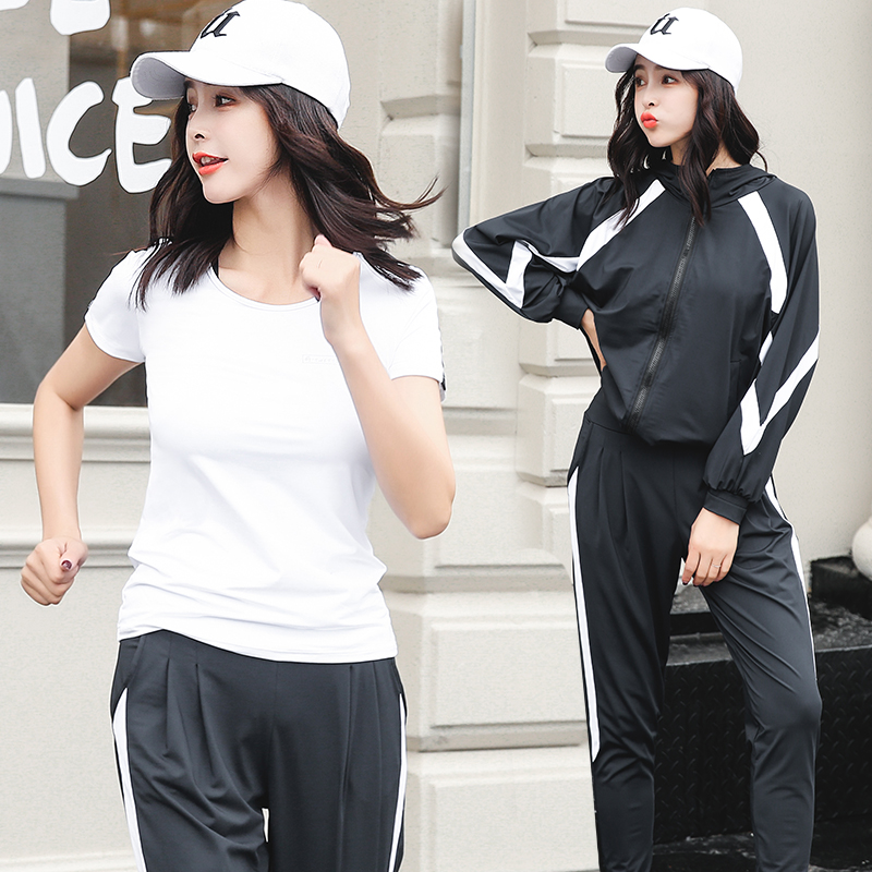 Verzy long sleeves M-2XL 4 pieces yoga set solid patchwork black gery white lady sportswear fitness outdoor gym running clothers