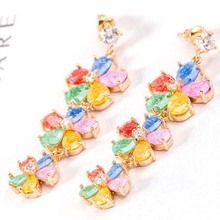 Korean jewelry trend of high-grade CZ earrings exaggerated Ice
