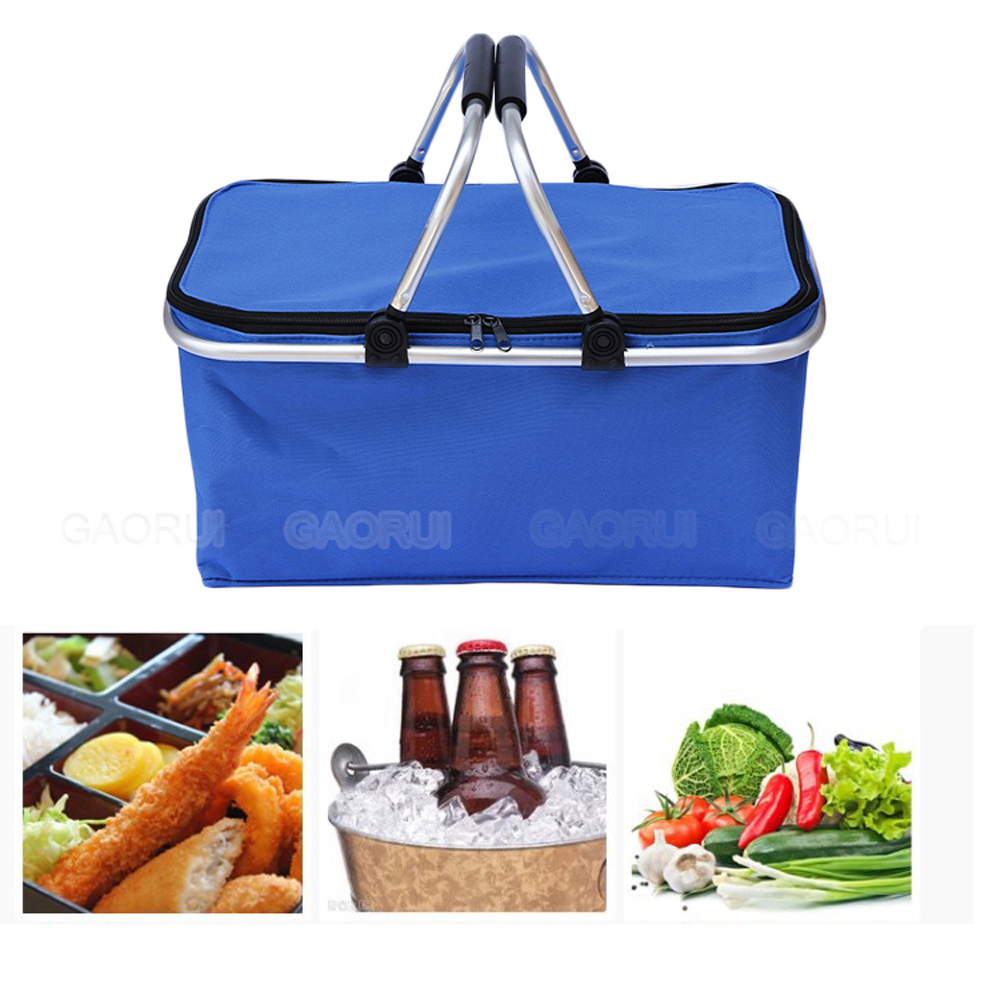 Outdoor Camping Folding Cooler Insulated Picnic Baskets 600D Oxford//Aluminum Frame Handles Foldable Shopping Basket Color : Blue