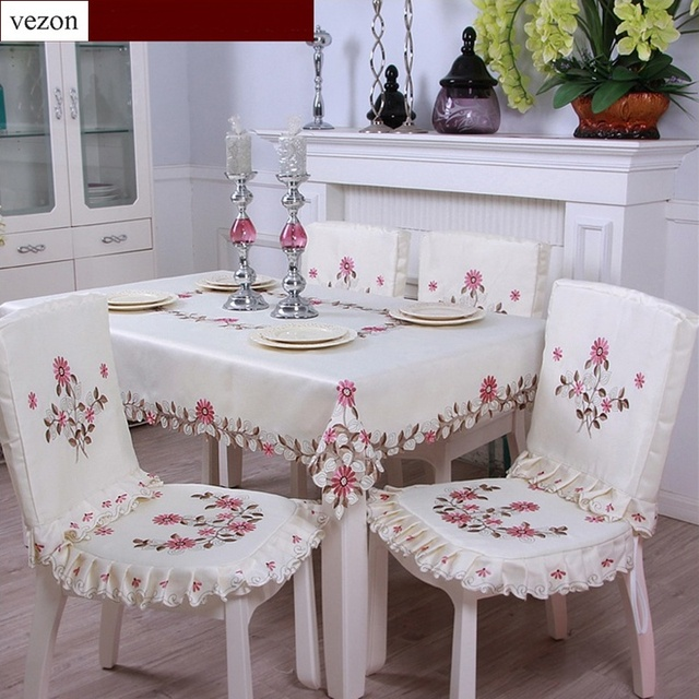 Perfect Vezon Elegant Polyester Satin Embroidery Rose Daisy Tablecloth Embroidered  Floral Table Cloth Cover Overlays Home Decor