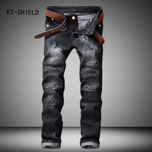 famous brand Men slim jeans homme mens Distressed Biker jeans hiphop pants male pencil pants Washed grey ripped jeans for men