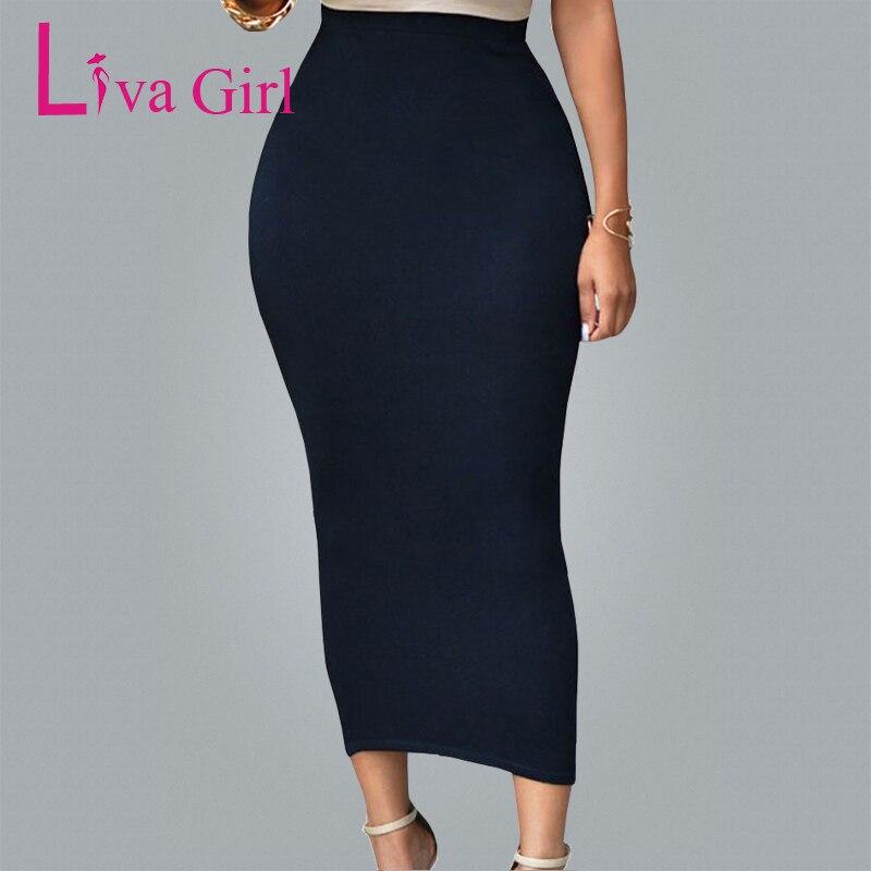 LIVA GIRL 2019 podzim zima černá šedá Maxi sukně dámské sexy bodycon sukně tužka dlouhá zábal sukně longue Jupe taille haute