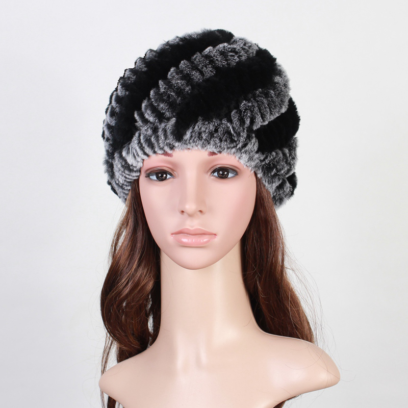 Handmade Russian Women's Real Rabbit Fur   Skullies     Beanies   Hats Female Winter Warm Fox Fur Caps Fashion Headgear VK3083