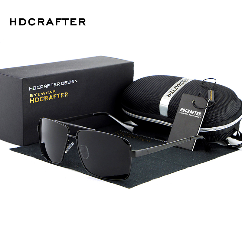 2016 HDCRAFTER Fashion Men's UV400 Polarized coating Sunglasses men Driving Mirrors oculos Eyewear Sun Glasses for Man with Box