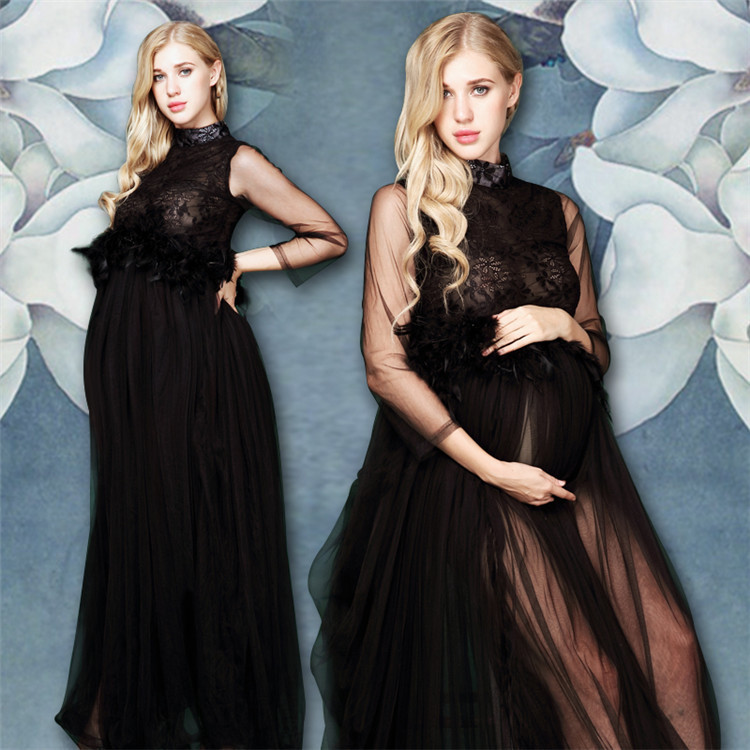 11#840 Europe and America New Fashion pregnant woman Dress photography clothing New Studio photography Photo Maternity Clothing 2016 women s clothing fashion in europe and the atmosphere bohemia elasticity knitted cultivate one s morality dress