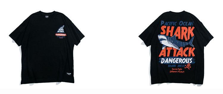 Aolamegs T-shirt Men Dangerous Big Shark Printed Short Sleeve Tee shirt Fashion Street Hip Hop Creative Tops Couples T shirts (13)