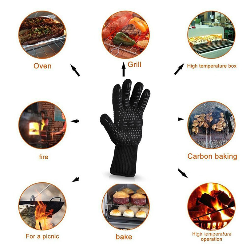 1 pair Fire Insulation Safety Gloves Heat Resistant Glove Aramid BBQ Glove Oven Kitchen Glove Direct Supply Forearm Protection