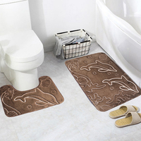 80 50cm Dolphin Bathroom Set Coral Fleece Floor Carpet U Shaped Bath Mats Rug Toilet Seat