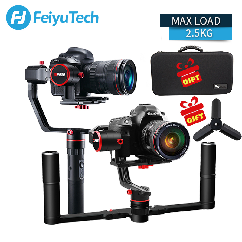 FeiyuTech FEIYU a2000 3 Axis Gimbal DSLR Camera Stabilizer Dual Single Handheld Grip for Canon 5D SONY Nikon 2500g Payload feiyu a2000 3 axis gimbal steadicam dslr camera dual handheld stabilizer for grip voor canon 5d sony panasonic 2000g