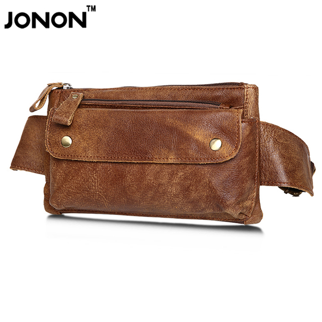 JONON Cowhide Mens Real Leather Waist Bag Fanny Hip Belt Bag Waist Pack Bumbag Wallet Purse Casual Quick Release MHB128