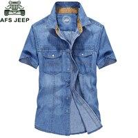 AFS JEEP Summer Brand Denim Shirt Men Short Sleeve Turn down Collar Mens Shirts Casual Slim Fit Men's Jeans shirts Chemise homme