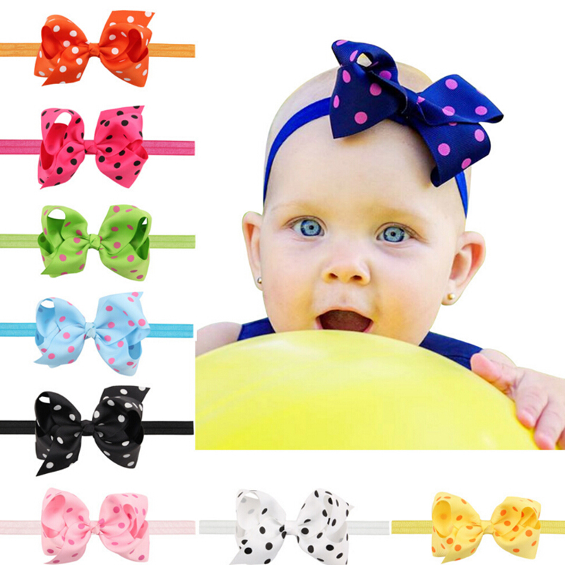 1PC Girls Big Bows Infant Baby Flower Headband  Hair Elastic Headbands Bows Hair band kids Children Fabric Accessories  w--005 boutique handmade dot kids girls hair ties elastic tiara bows satin flower hairbows headbands hairband floral accessories mt 36