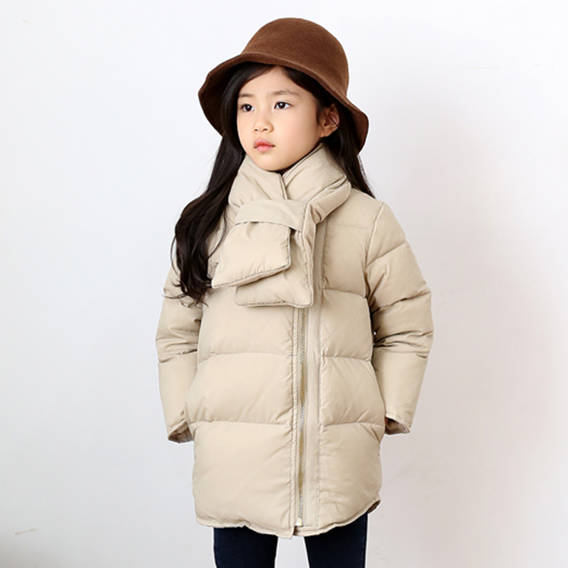 2017 Girls Winter Coat Girls Clothes Girls Down Jacket With Scarf Children Coat Kids Outerwear for 4 6 8 10 12 14 SKC156002