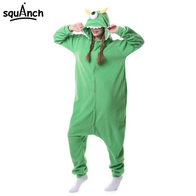Mike Wazowski Onesie Adult Anime Pajama Green Cartoon Onepiece Monster Costume Sleepwear Overall One Eye Funny Jumpsuit Carnival