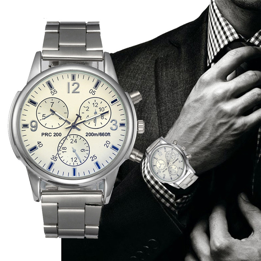 Migeer Mens Silver Stainless Steel Band Big Dial Analog Business Sports Wrist Watch MI17