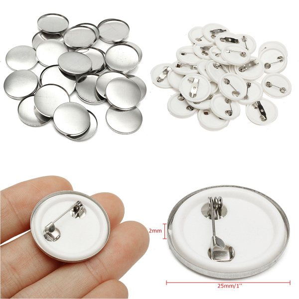 All Metal Pin Badge Button 500sets 1-3//4 44mm Supplies for Pro Maker Machine