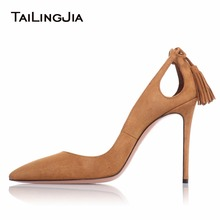 Women's Elegance Pointed Toe Pumps With Tassels Brown Stilettos Hollow New Ladies Pumps Spring Fall Woman Shoes  Free Shipping