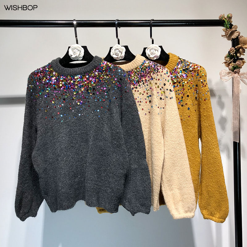 05160ae77ad 2018 Fashion New Knitted Sweaters Round Neck Front Shiny Colorful Sequins  Long Sleeves Elastic Jumper