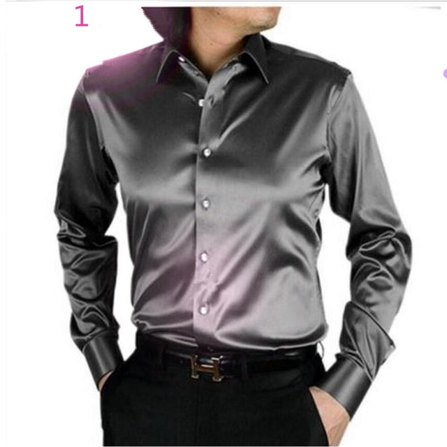 1c9477437aeac6 LightSung promption long sleeve casual loose silk men shirt thin plus size  plus size male wedding dress shirts