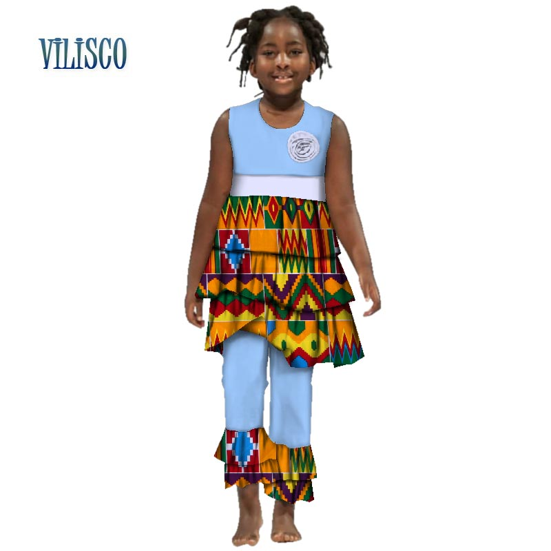 Summer African Girls Print Drap Layer Ruffles Top and Pants Bazin Riche Traditional African Wax Cotton Girls Clothing WYT147