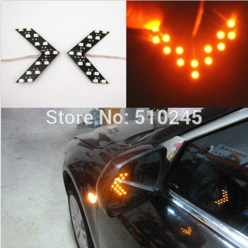10X 3 Colors 14 SMD 3528 LED Arrow Panels Light For Car Side Mirror Turn Signal Indicator Light hot sale free shipping