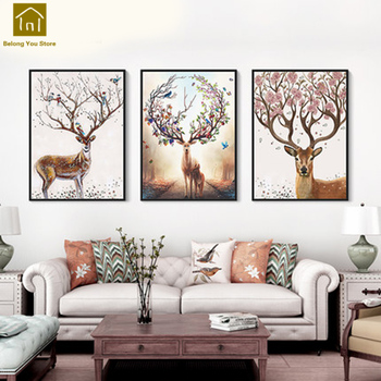 Living Room Decoration Painting Modern Simple Framed Wall Canva Art Triptych Painting Toile Peinture Decorative Pictures WKM023