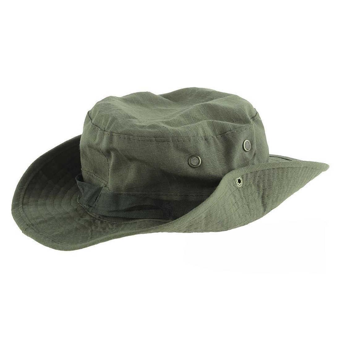 กว้าง Brim หมวกตกปลาหมวกกันแดดหมวกกองทัพสีเขียวเดินทาง BONNIE หมวกปรับสายรัด Mens หมวกกีฬา