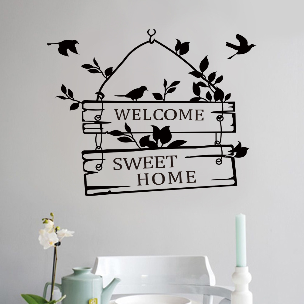 Cartoon Welcome Sweet Home Door Glass Decal Wall Sticker Quotes Livingroom Wall Decals Wallpaper Home Interior Mural Wall Art