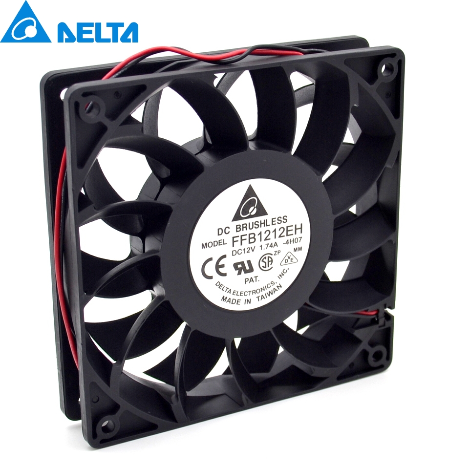 Delta New FFB1212EH 12V 1.74A 12CM 12025 dual ball bearing cooling fan violence for 120*120*25mm delta 12038 fhb1248dhe 12cm 120mm dc 48v 1 54a inverter fan violence strong wind cooling fan