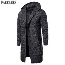 Autumn Slim Fit Hooded Sweater Men 2018 Fashion Casual Longline Knitting Cotton Cardigan Sweaters Men Solid Color Sweatercoat