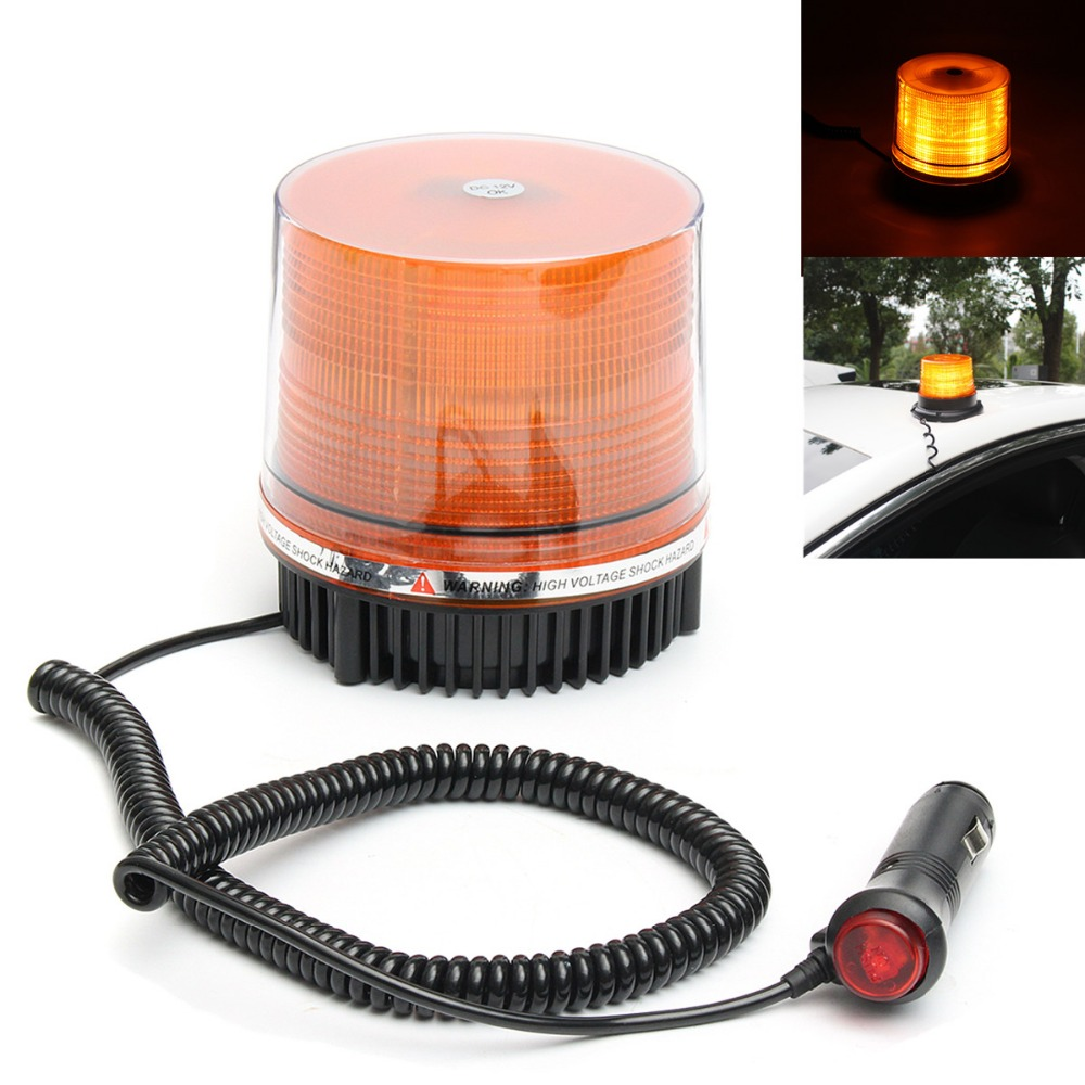 1Pcs 12V Car Magnetic Mounted Vehicle Warning Light 72 LED Flashing Beacon/Strobe Emergency Lighting Lamp Amber 10 led led beacon magnetic bolt recovery flashing warning strobe light lightbar amber