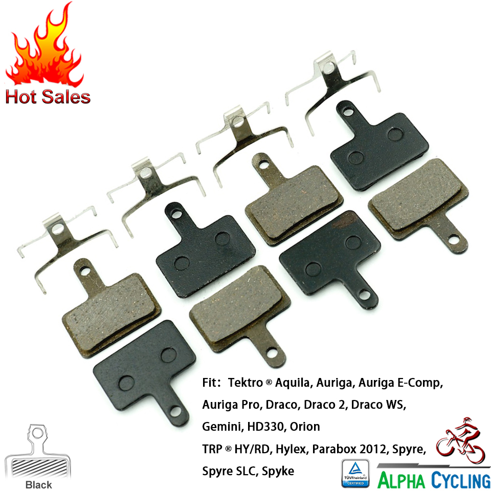 Disc Brake Pads for Tektro Aquila, Auriga, Auriga E-Comp, Auriga Pro, Draco, Draco WS Gemini, HD330, Orion, 4 Pairs Black RESIN