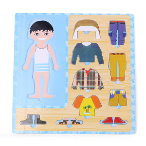 Baby Toys Boy/Girl Dress Changing Puzzle Set Wooden Toys Child Eduactional Dressing Jigsawv Puzzle Baby Birthday Gift(China)