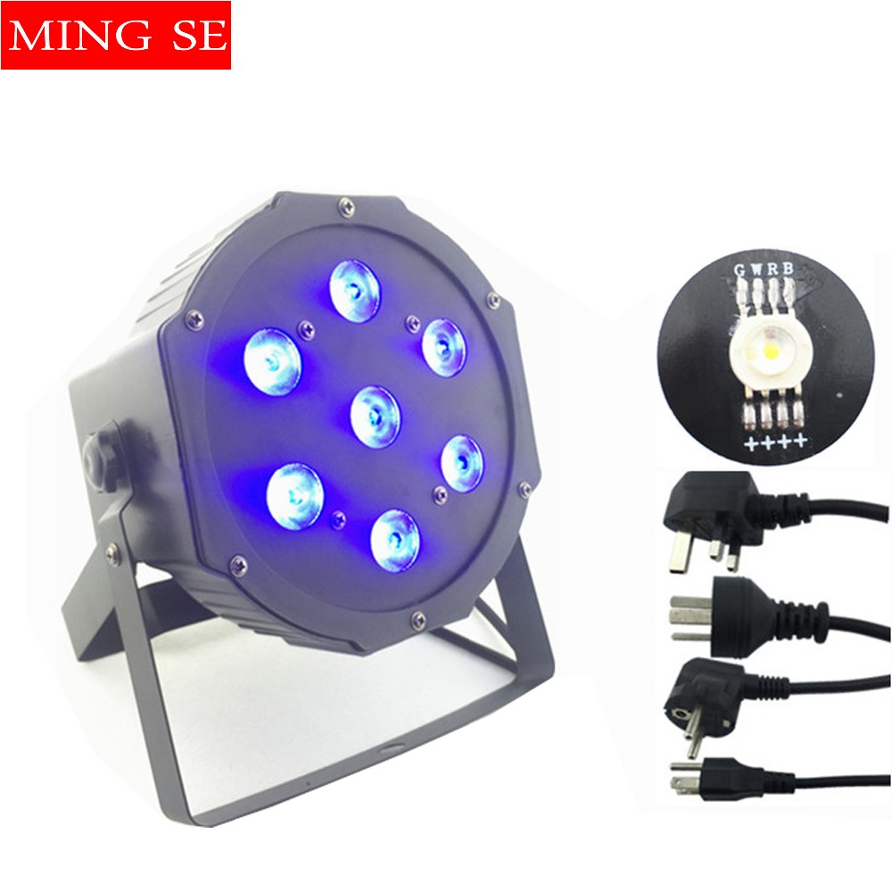 Fast shipping 7x12w led Par lights RGBW 4in1 flat par led dmx512 disco lights professional stage dj equipment free shipping 9x10w 30w flat led par lights 9 10w 30w rgbw 3in1 par dmx512 control disco lights professional stage dj equipment