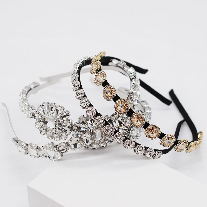 Baroque Fashion Personality Multicolor Transparent Crystal Flower Wild Headband Small Particles Simple Headband   949