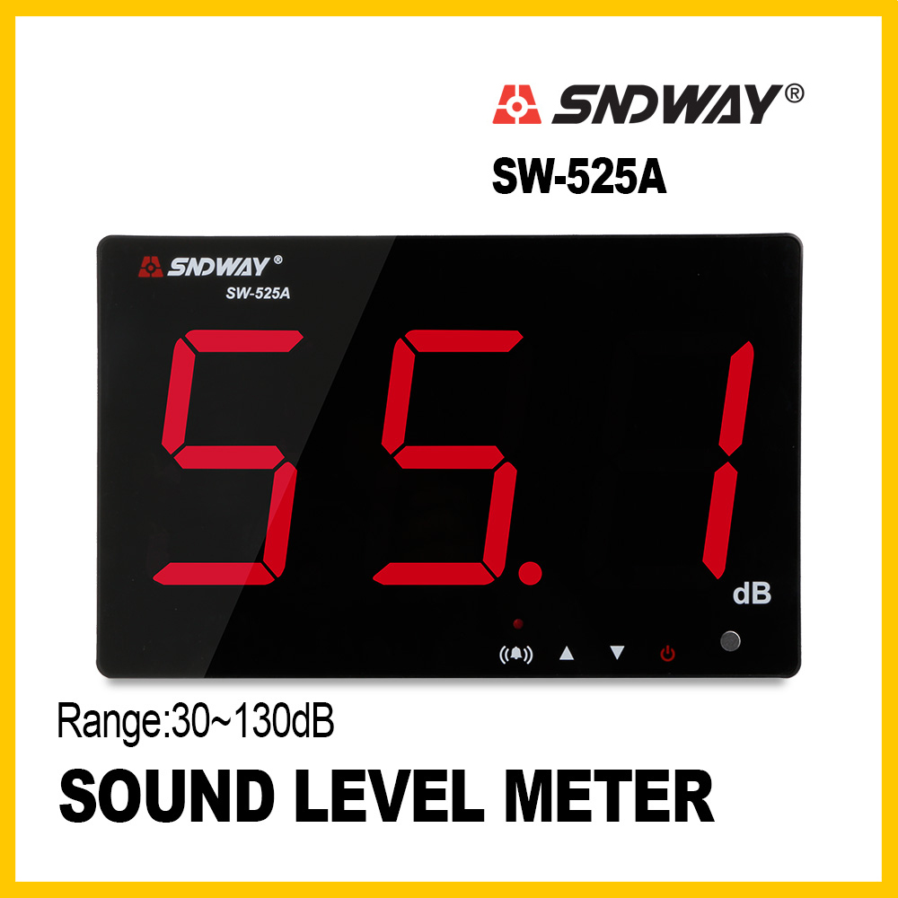 SNDWAY Digital Sound level meter noise db meter measuring large screen 30~130db hanging type Noise Monitoring Testers SW-525A sndway sw 525b digital sound level meter 30 130db large display usb powered 9 6 decibel meter sound diagnostic tool