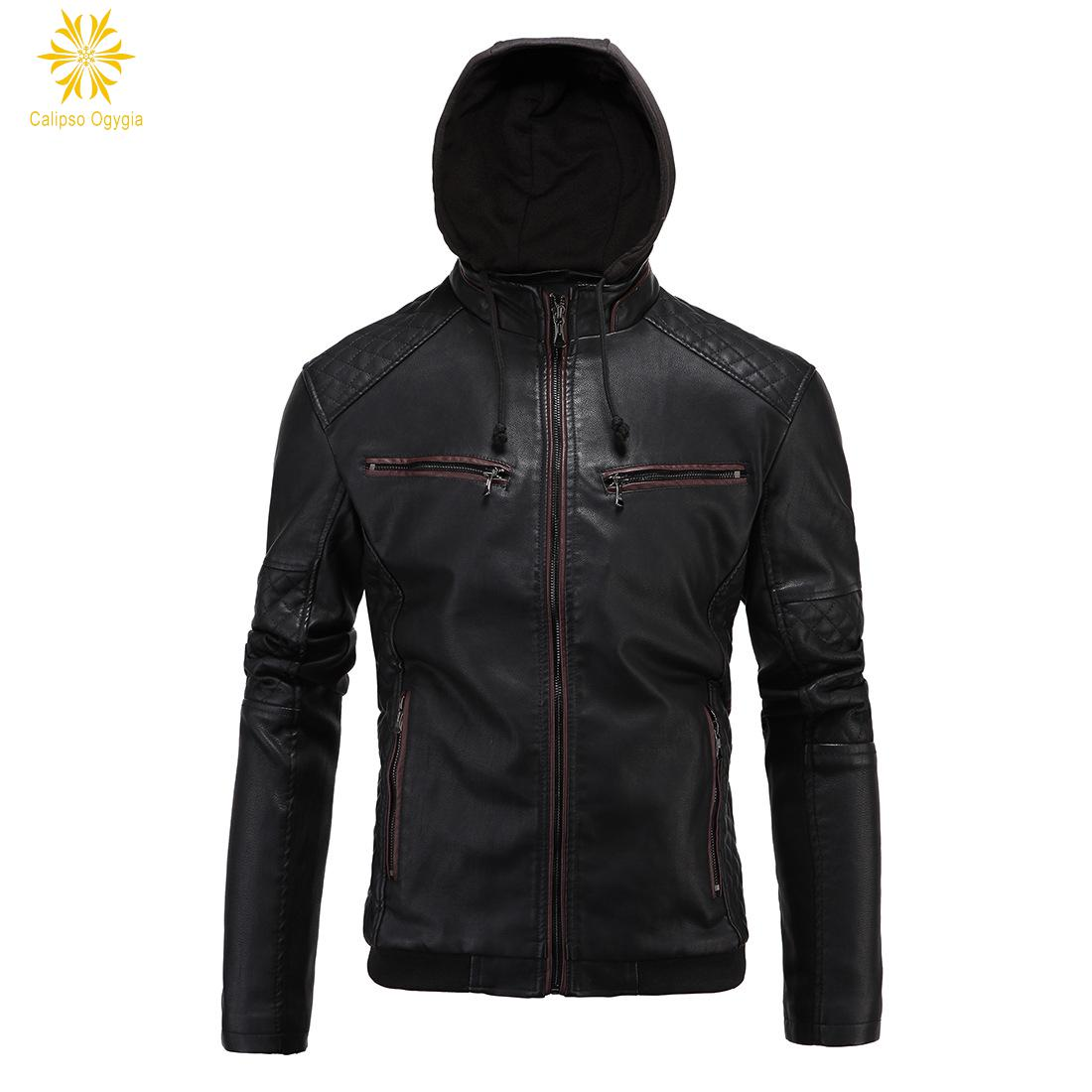 Leather jacket and hoodie - New Men S Straight Hoodie Hooded Thick Winter Black Leather Motorcycle Jackets Warm Cotton Coat Thick Jacket